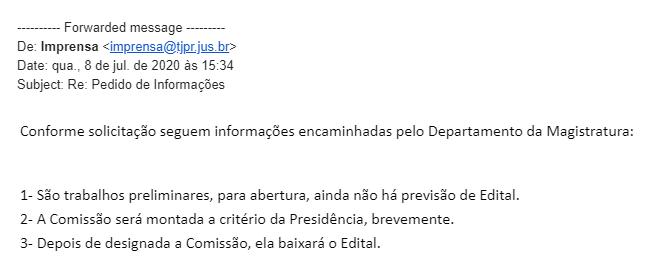 Concurso TJ PR Juiz: e-mail com as informações do certame