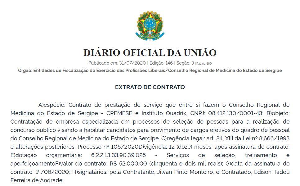 Concurso CREMESE: extrato de contrato com a banca!