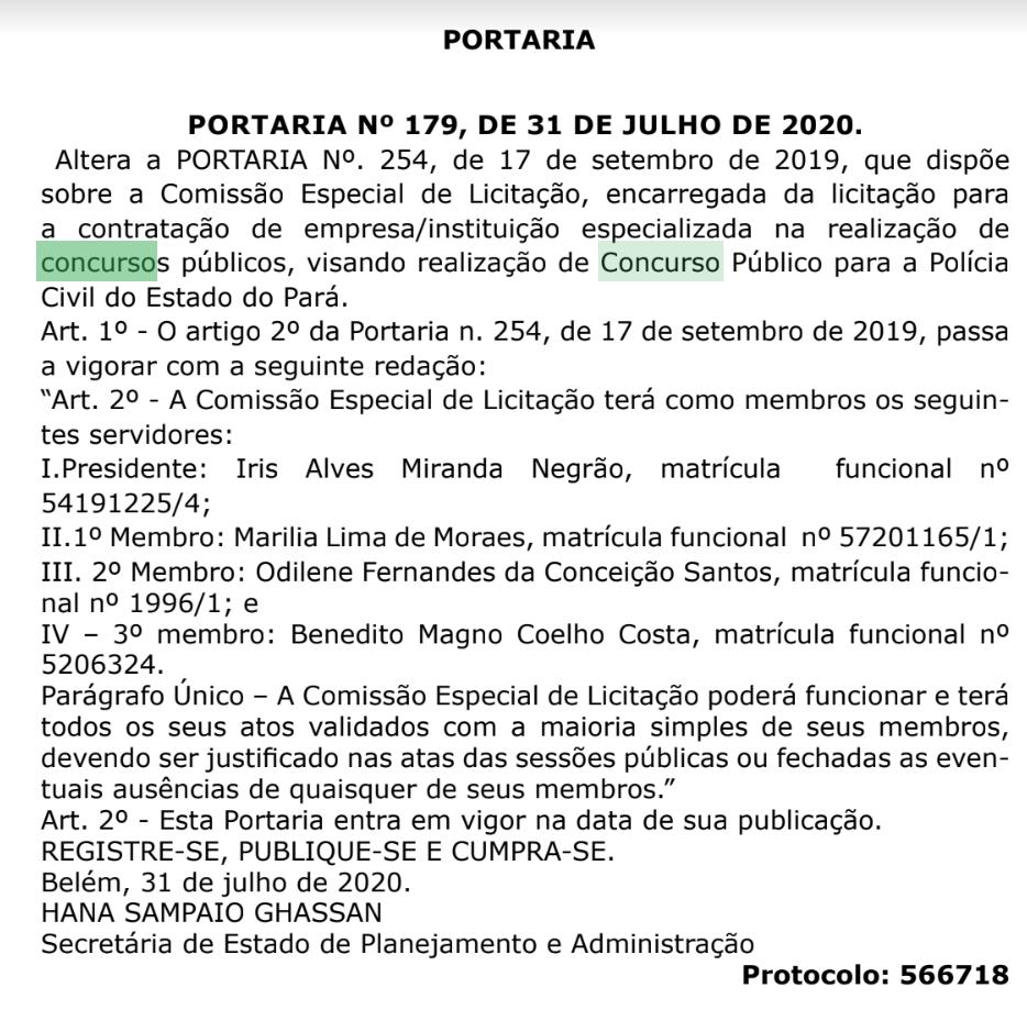 Concurso PC PA: comissão!