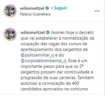 Postagem em rede social feita pelo governador do Rio de Janeiro