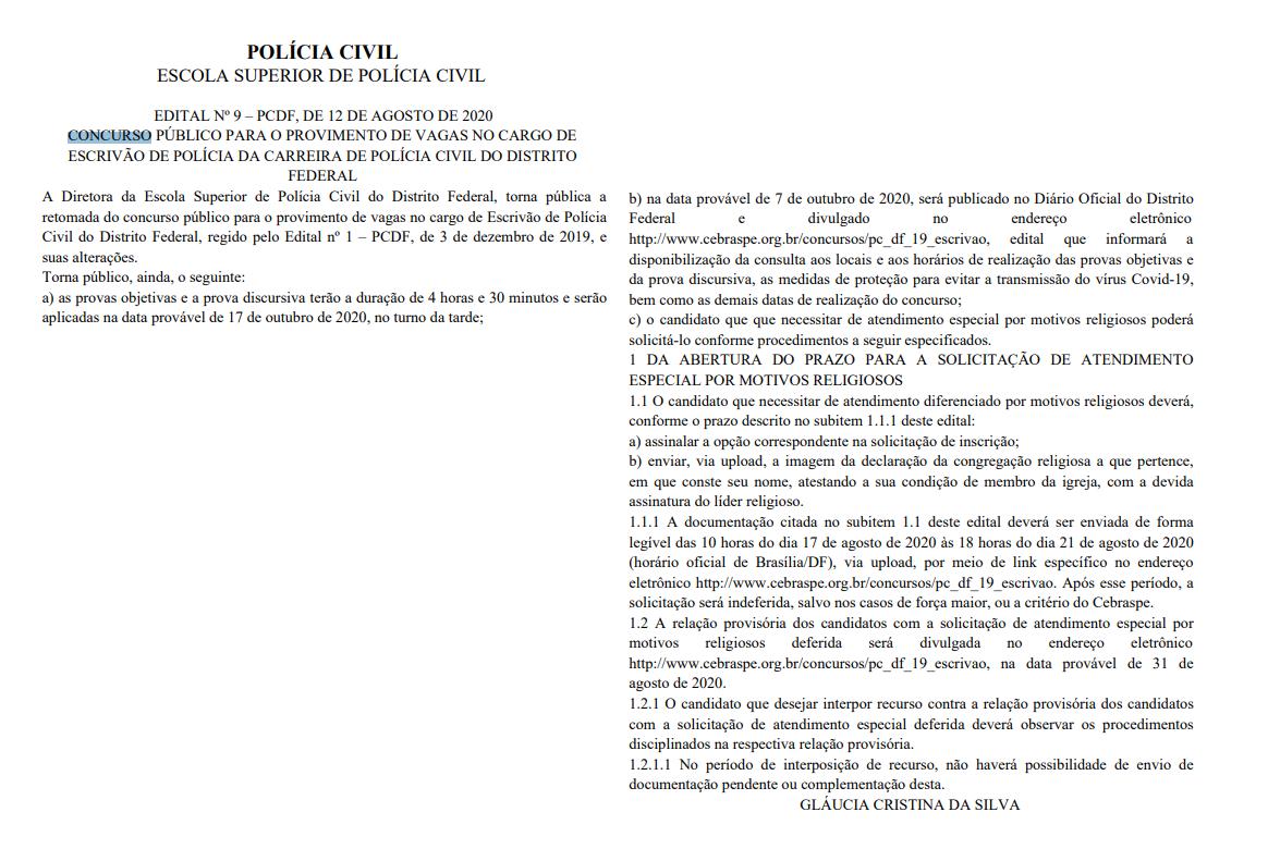 Concurso PCDF Escrivão: certame retomado!