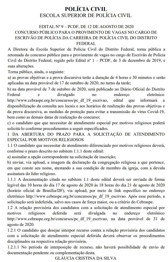 Edital PCDF Escrivão: retomado. Provas em outubro