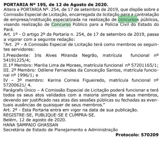 Concurso PC PA: Nova alteração na comissão
