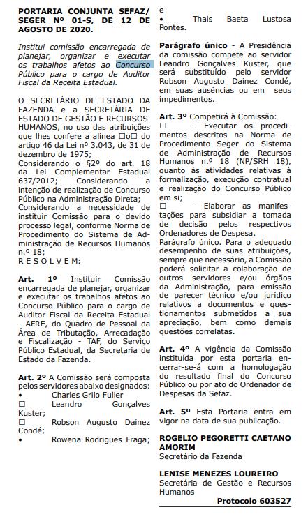 concurso Sefaz ES: comissão formada