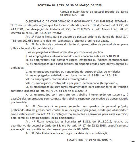 Concurso do Banco do Brasil: quantitativo de pessoal