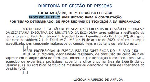Edital Ministério da Economia: retificado