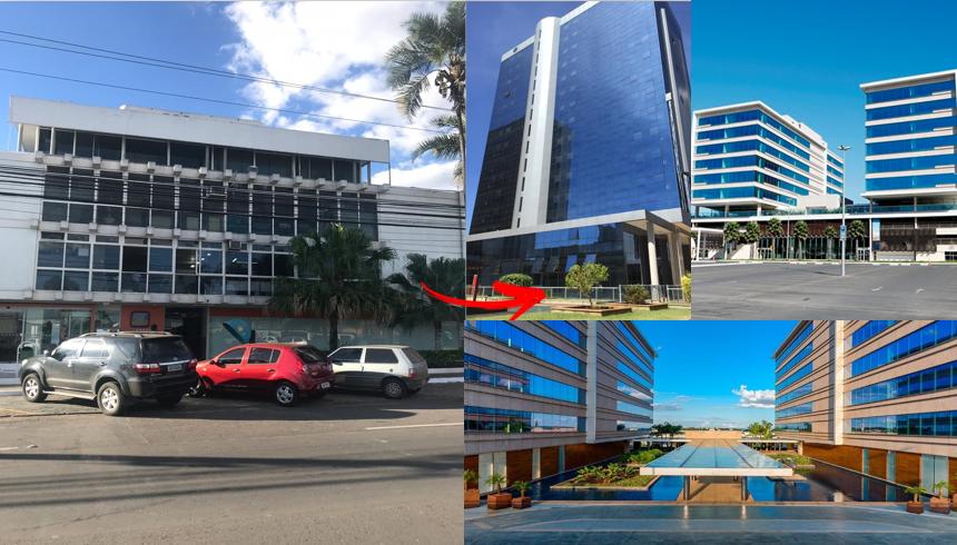 Prédio de nossa sede até 2015 vs. prédios de nossas instalações atuais