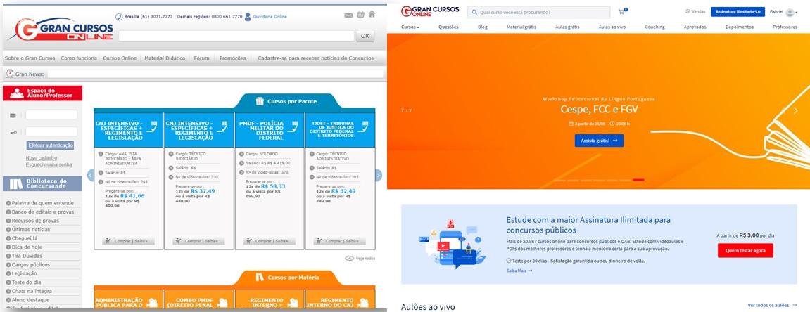 Primeiro site do Gran Cursos Online vs Novo site do Gran Cursos Online