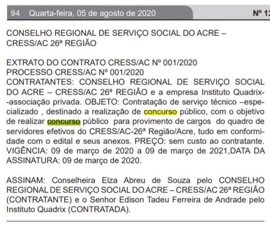 Concurso CRESS AC: extrato de contrato com a banca!