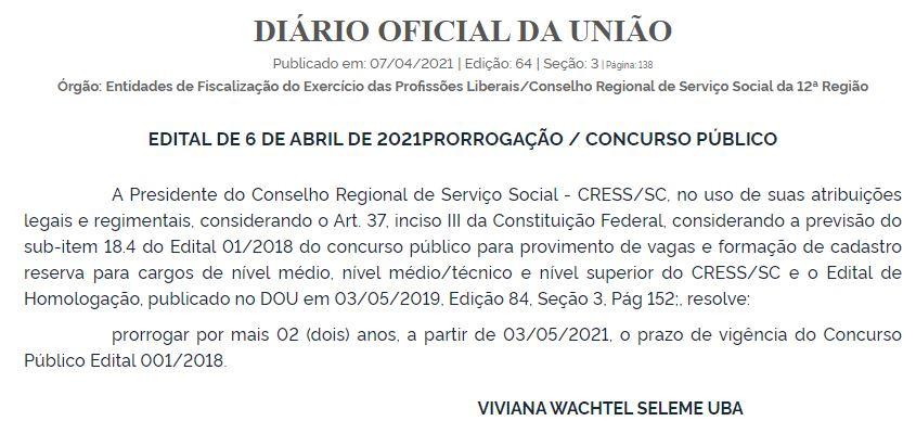Concurso CRESS SC: validade prorrogada
