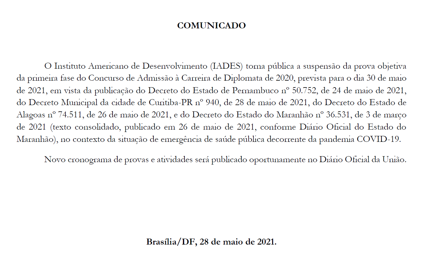 Concurso Diplomata 2020: comunicado de suspensão