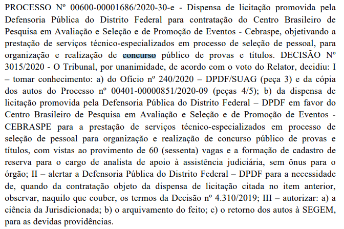 Concurso DPDF: Banca!