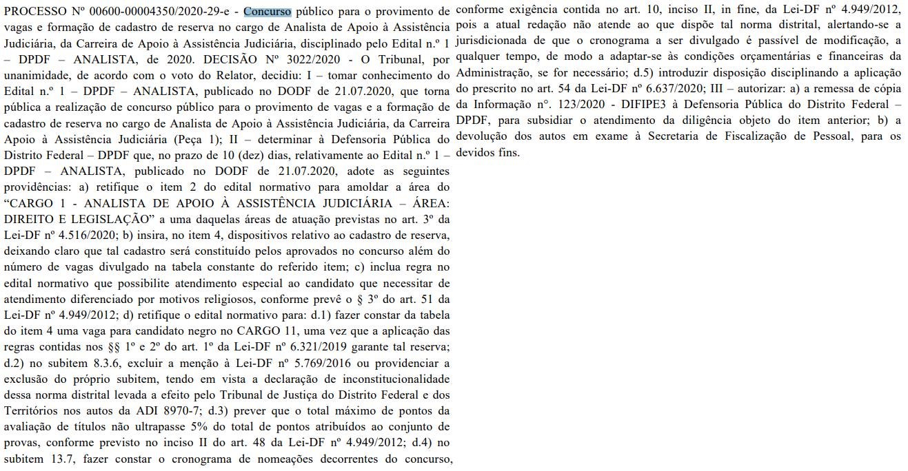 Concurso DPDF: Tribunal recomenda retificação do edital