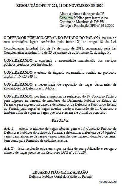 Concurso DPE PR Defensor: quantitativo de cargos vagos