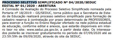 Concurso Seduc PA temporário para Professor Estadual.