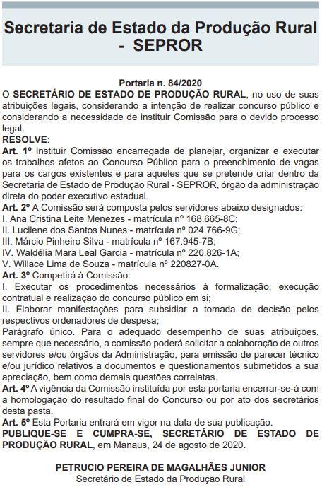 Concurso SEPROR AM: comissão formada.