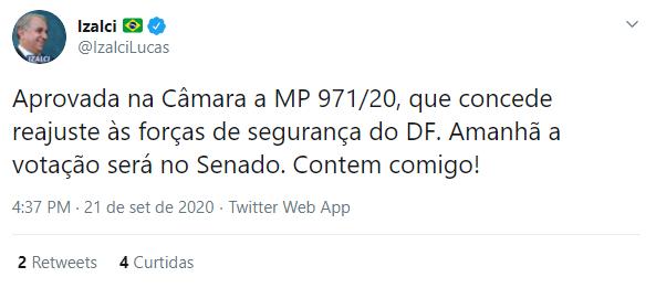 Reprodução: Twitter/ Reajustes de Policiais e Bombeiros do DF