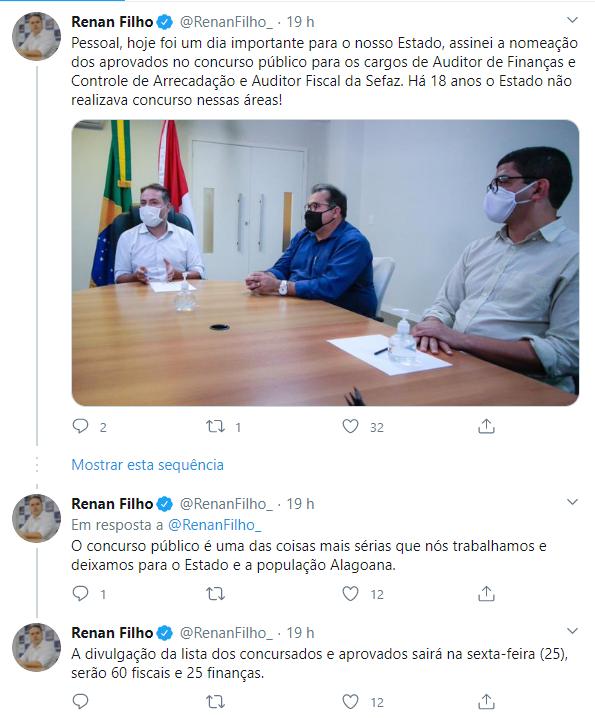 Concursos Alagoas. Reprodução: Twitter