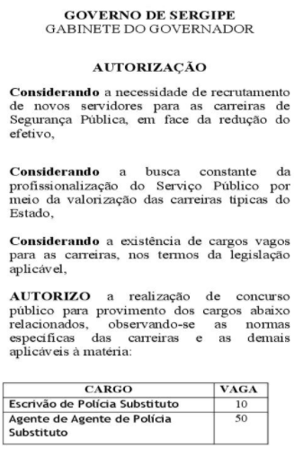 Concurso Polícia Civil SE: autorização oficial