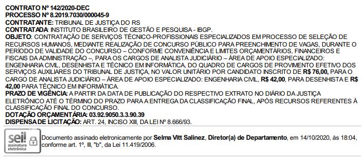 Concurso TJ RS: extrato de contrato com a banca IBGP publicado