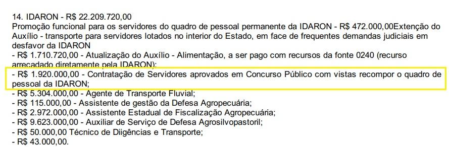 Concurso IDARON: orçamento previsto para contratação de pessoal
