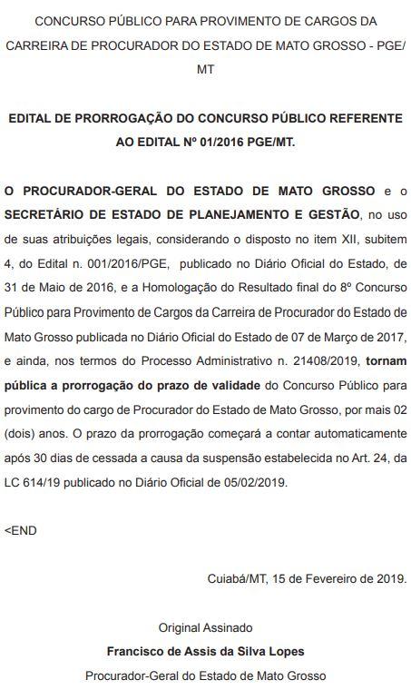 Concurso PGE MT Procurador: validade prorrogada até 2021