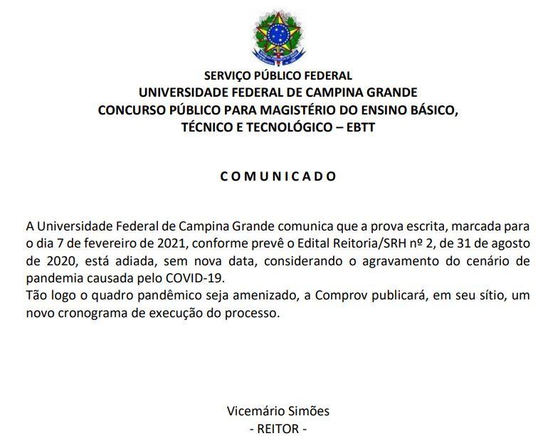Concurso UFGG PB: provas adiadas