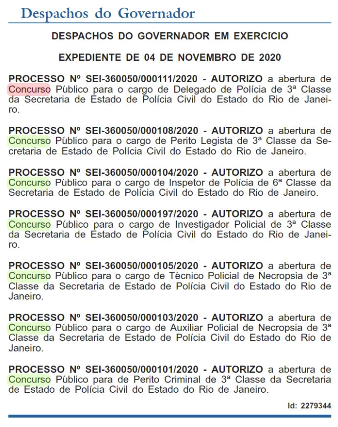 Concurso Policia Civil RJ: autorizaçã