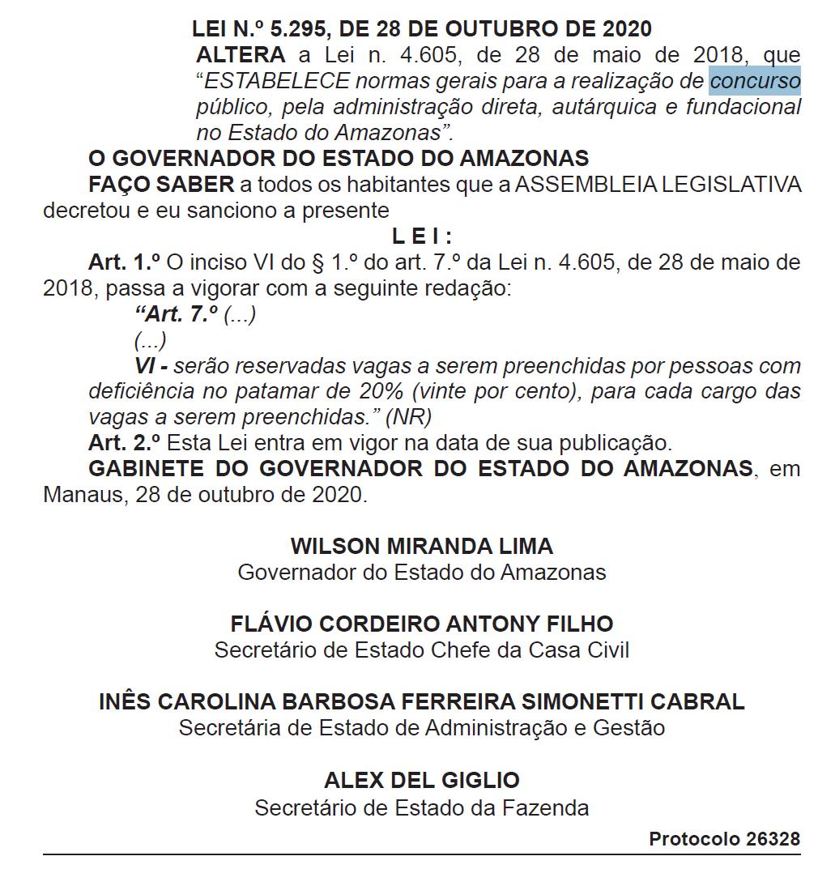 Concursos AM: Lei assegura 20% das vagas para candidatos PCD