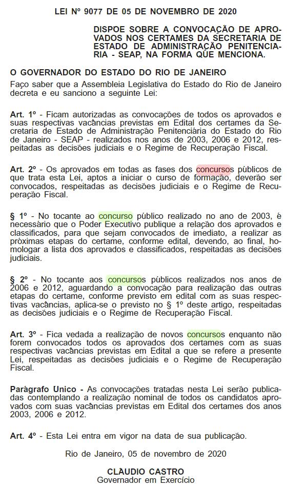 Concurso SEAP RJ: Lei autoriza convocar candidatos aprovados dos concursos anteriores