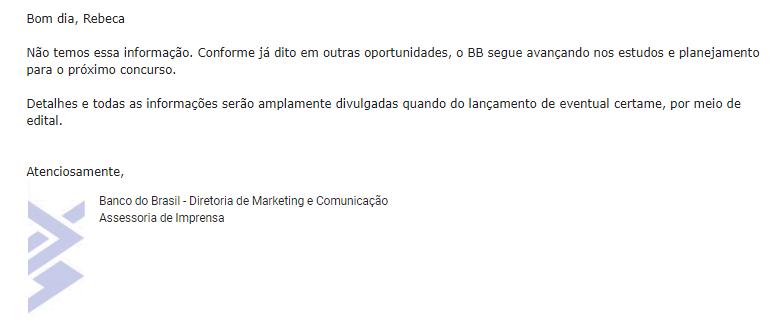 Concurso Banco do Brasil: resposta da ASCOM