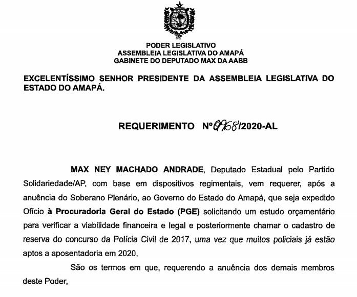 Concurso Polícia Civil AP: parlamentar pede por convocação de excedentes