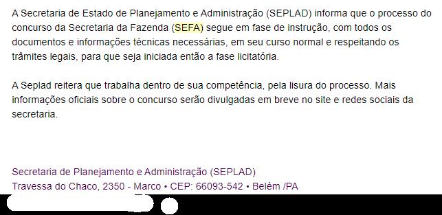 Concurso SEFA PA: resposta da SEPLAD