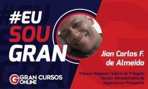 Jian Carlos conquistou a aprovação no concurso do TRF1