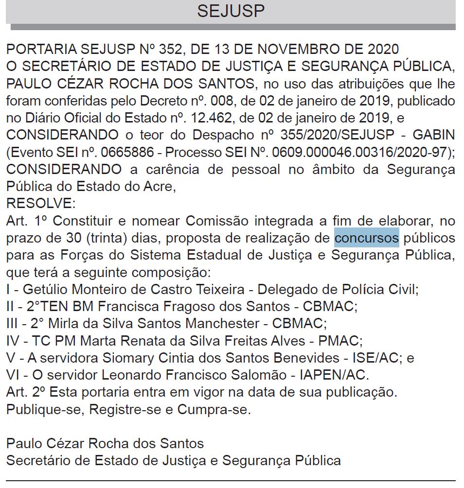 Concurso PM AC: comissão integrada formada