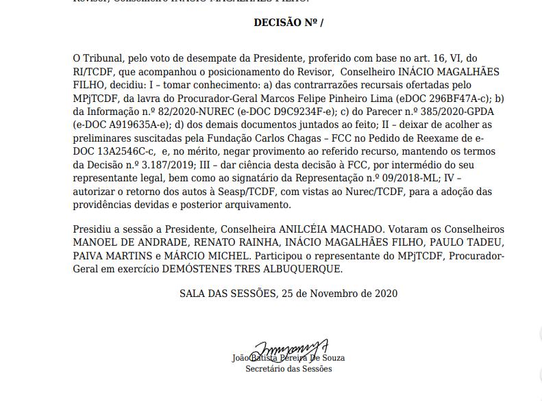 Decisão do TCDF sobre o recurso da FCC nos concursos do Distrito Federal