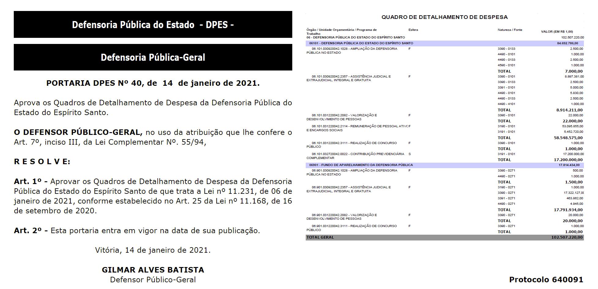 Concurso DPE ES: orçamento para concurso