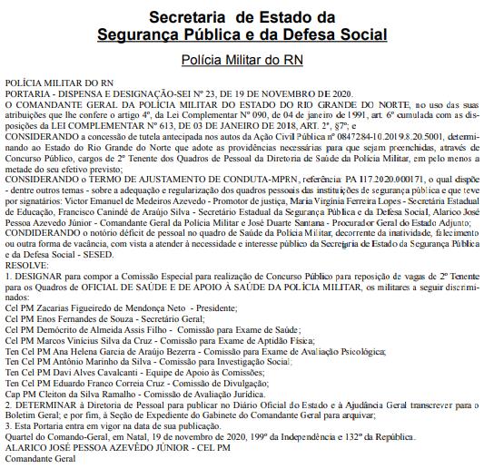 Concurso PM RN Oficial de Saúde: comissão especial!