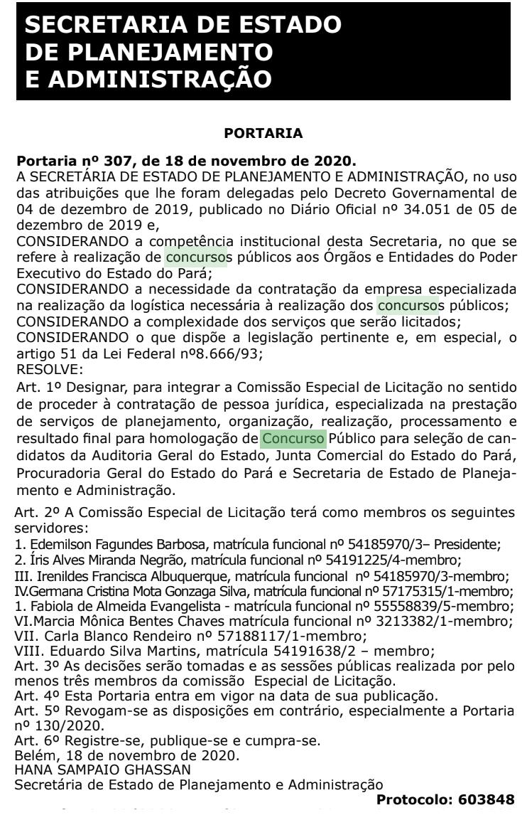 Concurso Jucepa: comissão formada