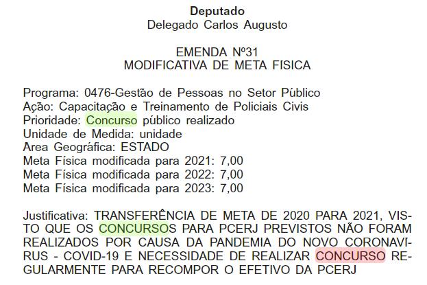 Concurso PC RJ: Emenda de transferência de orçamento