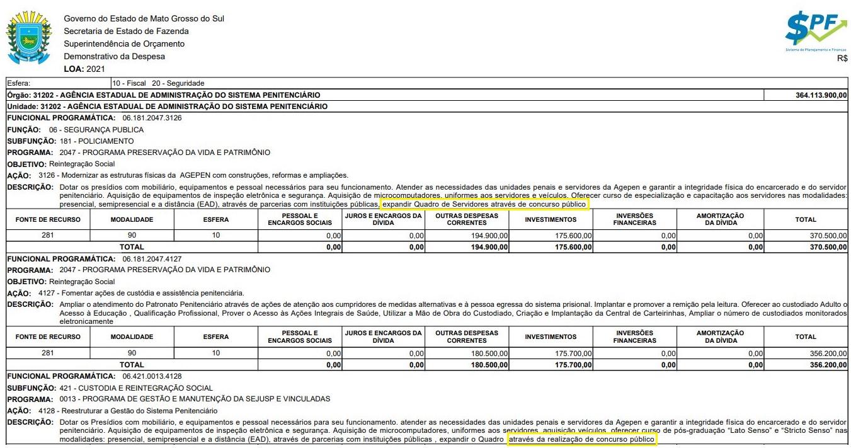 Concurso Agepen MS: LOA 2021 cita a expansão do quadro de servidores