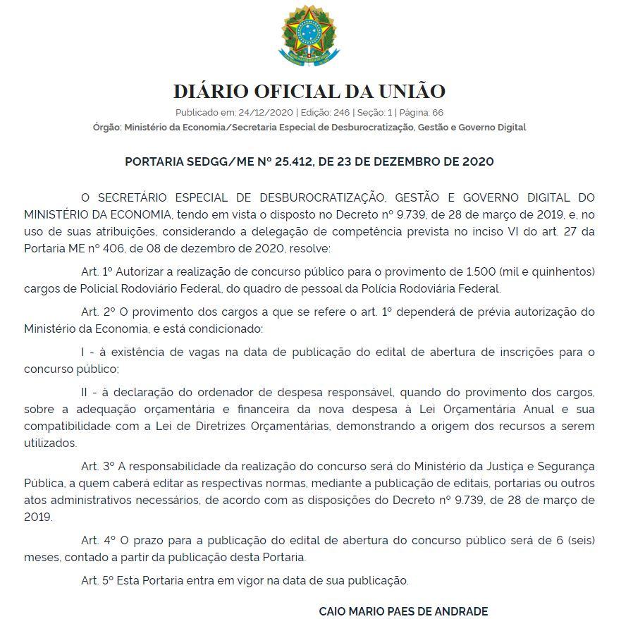 Concurso PRF: Autorização publicada no Diário Oficial