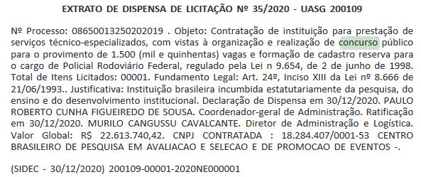 Concurso PRF: Extrato de dispensa de licitação nº 35/2020 - UASG 200109