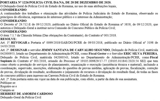 Concurso Polícia Civil RR - nova comissão