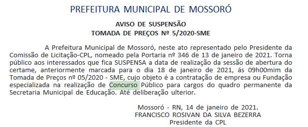 Concurso Prefeitura de Mossoró RN : suspensão banca organizadora