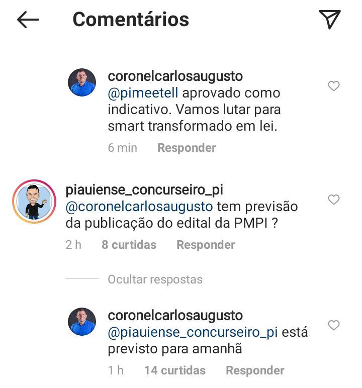 Concurso PM PI: confira resposta do Deputado para um seguidor no Instagram sobre a publicação do edital do concurso PM PI