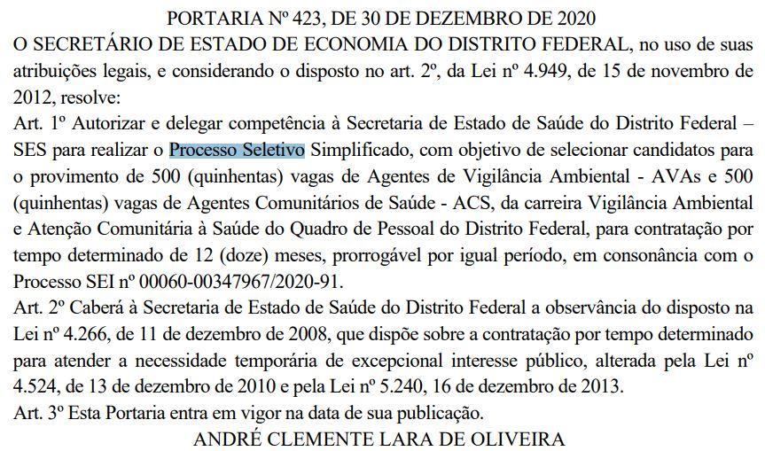 Concurso SES DF: processo seletivo simplificado autorizado