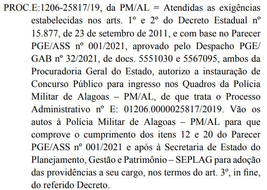 Concurso PM AL: Concurso público autorizado.