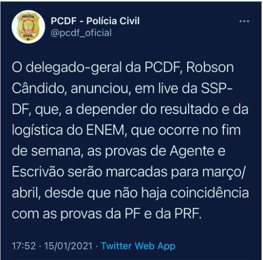 Concurso da PCDF: provas devem ser marcadas para março/abril.