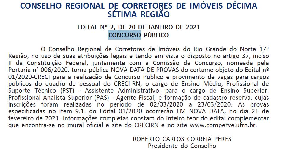 Concurso CRECI RN: nova data da prova objetiva fica para 21 de fevereiro de 2021